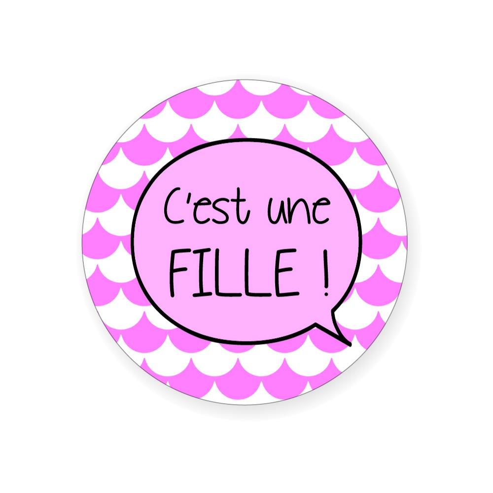 """Badge """"C'est une fille!"""" - Idées Cadeaux par BB&Co"""