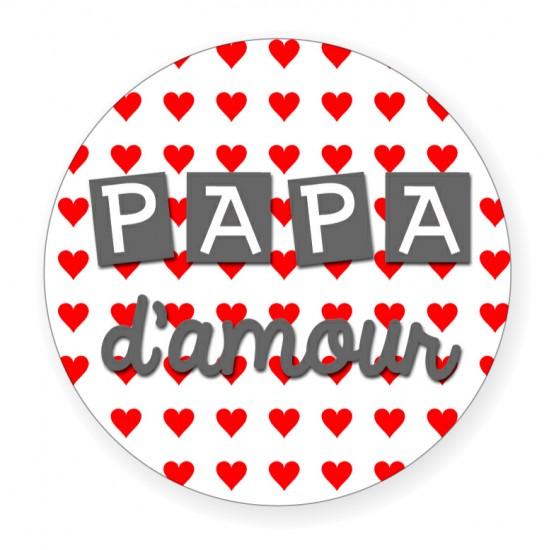 """Badge """"Papa d'amour"""" - Idées Cadeaux par BB&Co"""
