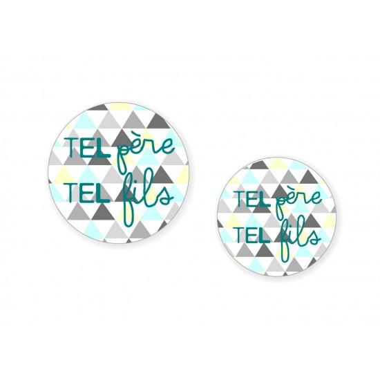 """Duo Badges """"Tel Père Tel Fils"""" - Idées Cadeaux par BB&Co"""