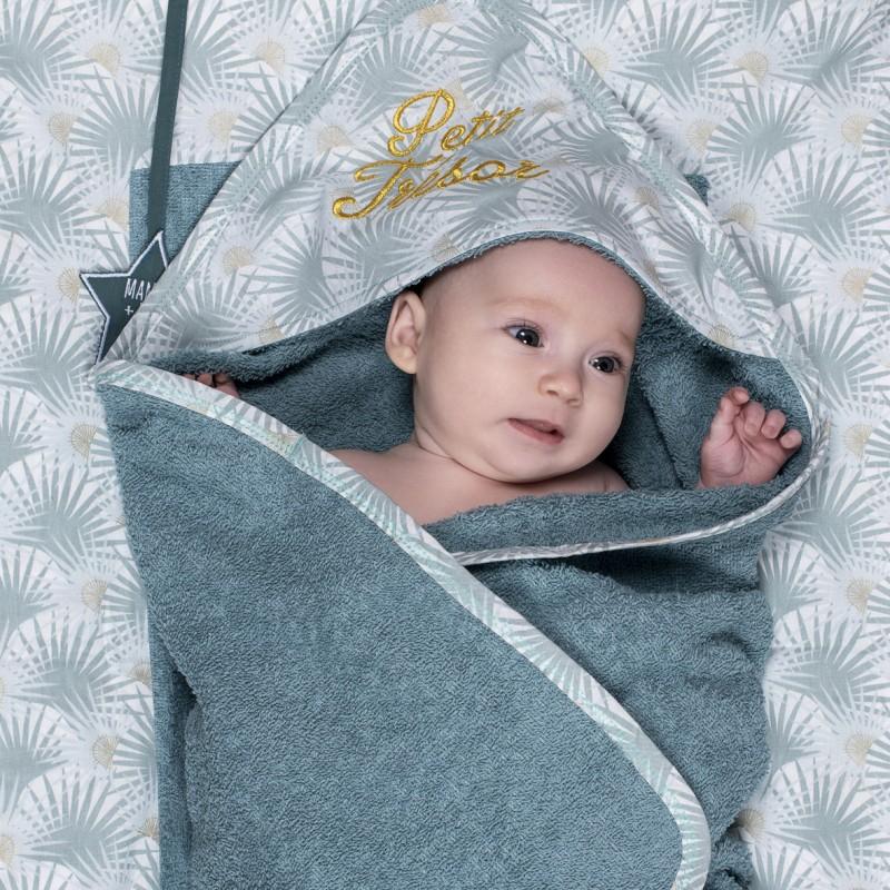 """Cape de bain brodée """"petit trésor"""" + gant Palm Springs vert/palmiers - Peignoirs & Capes de Bain par BB&Co"""