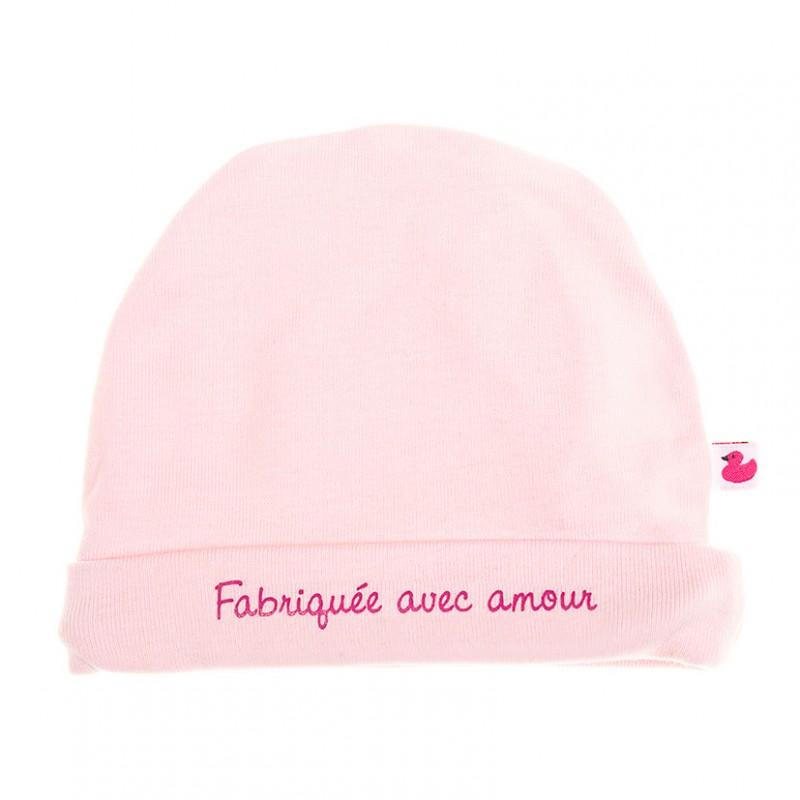 """Bonnet """"Fabriquée avec amour"""" rose pastel - Bonnets par BB&Co"""