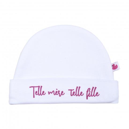 """Bonnet doublé pur coton """"Telle mère telle fille"""" blanc/rose - Bonnets par BB&Co"""