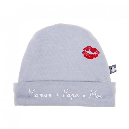 """Bonnet """"Maman + Papa"""" gris clair - Bonnets par BB&Co"""