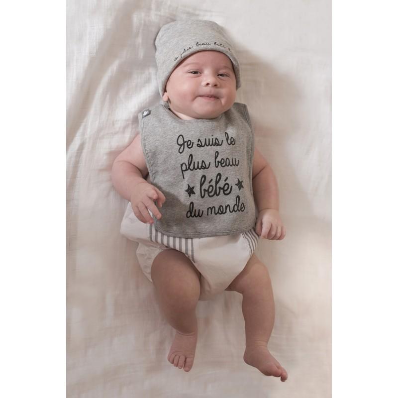 """Bonnet """"le plus beau bébé"""" gris chiné - Bonnets par BB&Co"""
