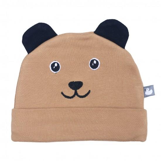 Bonnet doublé pur coton Petit ourson avec oreilles camel/noir - Bonnets par BB&Co