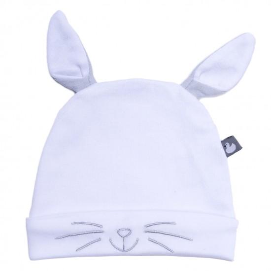 Bonnet Petit Lapin avec oreilles blanc/gris - Bonnets par BB&Co