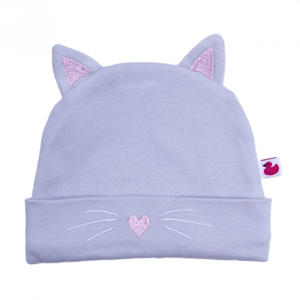 Bonnet Petit Chat avec oreilles gris/rose - Bonnets par BB&Co