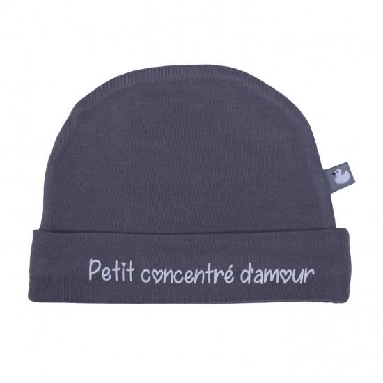 """Bonnet doublé pur coton """"Petit concentré d'amour"""" anthracite - Bonnets par BB&Co"""