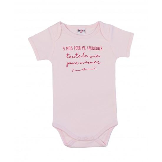 """Body manches courtes """"9 mois pour me fabriquer"""" rose pastel - Bodys par BB&Co"""