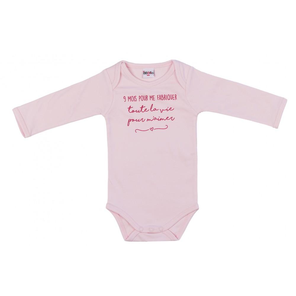 """Body manches longues """"9 mois pour me fabriquer"""" rose pastel - Bodys par BB&Co"""