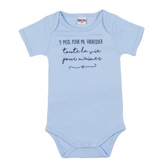 """Body manches courtes """"9 mois pour me fabriquer"""" bleu ciel - Bodys par BB&Co"""