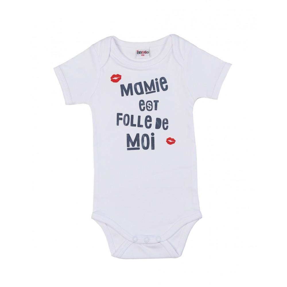 """Body manches courtes """" Mamie est folle de moi"""" blanc - Bodys par BB&Co"""