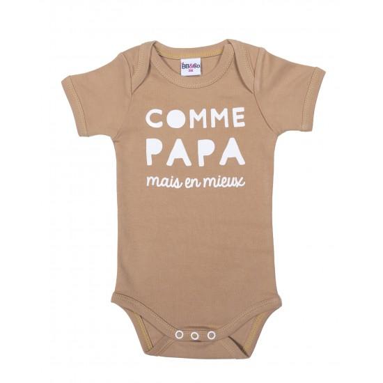 """Body manches courtes """"Comme papa mais en mieux"""" camel - Bodys par BB&Co"""