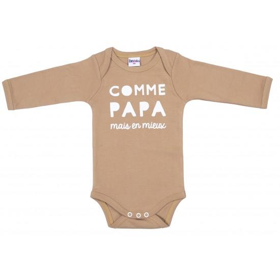 """Body manches longues """"Comme papa mais en mieux"""" camel - Bodys par BB&Co"""