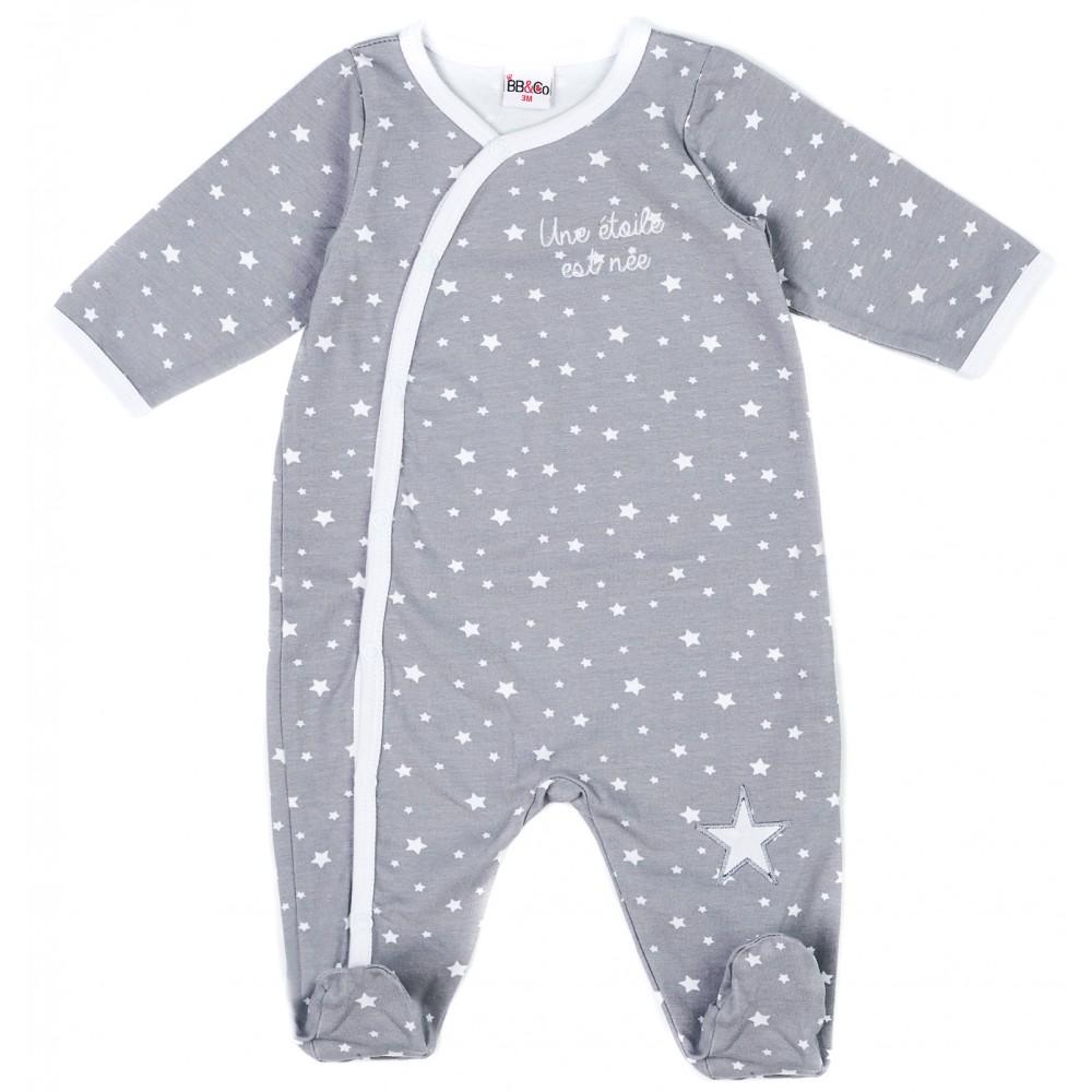 """Dors-bien mixte jersey """"Une étoile est née"""" imp. étoiles - Pyjamas par BB&Co"""