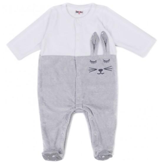 Dors-bien mixte velours lapin gris/blanc - Pyjamas par BB&Co