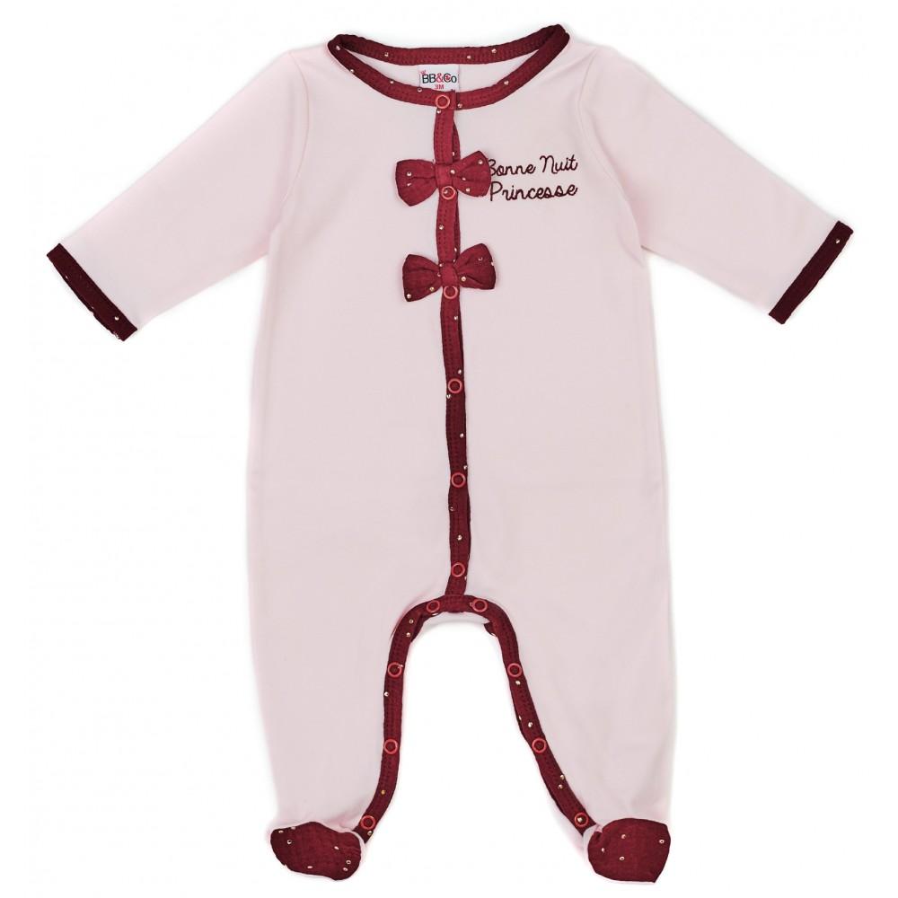 """Dors-bien coton """"Bonne nuit princesse"""" Girly Chic rose/prune pois or - Pyjamas par BB&Co"""