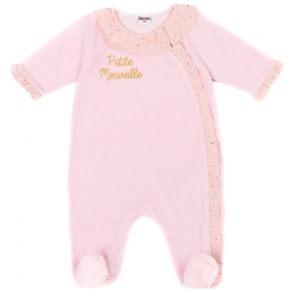 "Dors-bien velours ""Petite Merveille Girly Chic rose/blush pois or - Pyjamas par BB&Co"