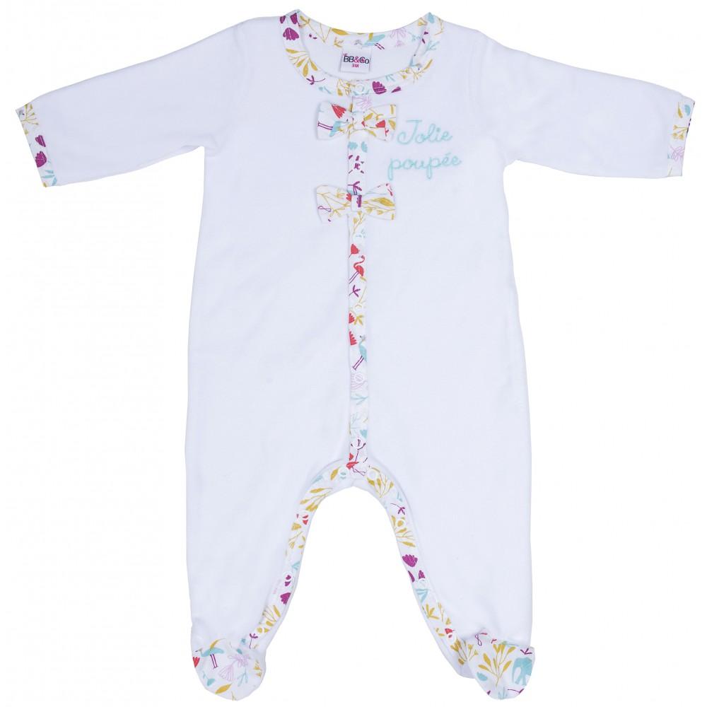 """Dors-bien velours """"Jolie poupée"""" Exotic Garden blanc/exotic - Pyjamas par BB&Co"""