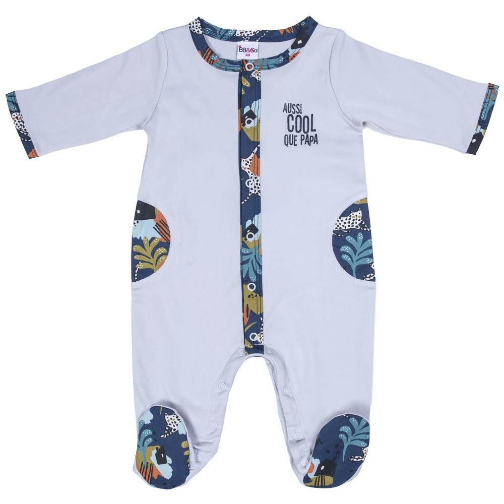 """Dors-bien coton """"Aussi cool que papa"""" gris clair/imp.savane - Pyjamas par BB&Co"""