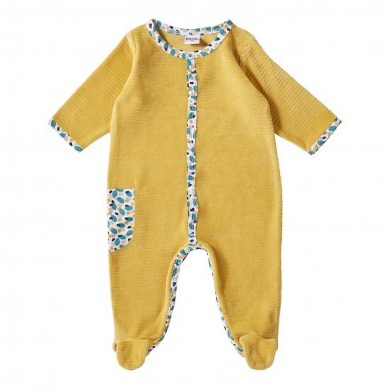 Dors-bien velours ocre / imprimé multicolore Baby Pop - Pyjamas par BB&Co