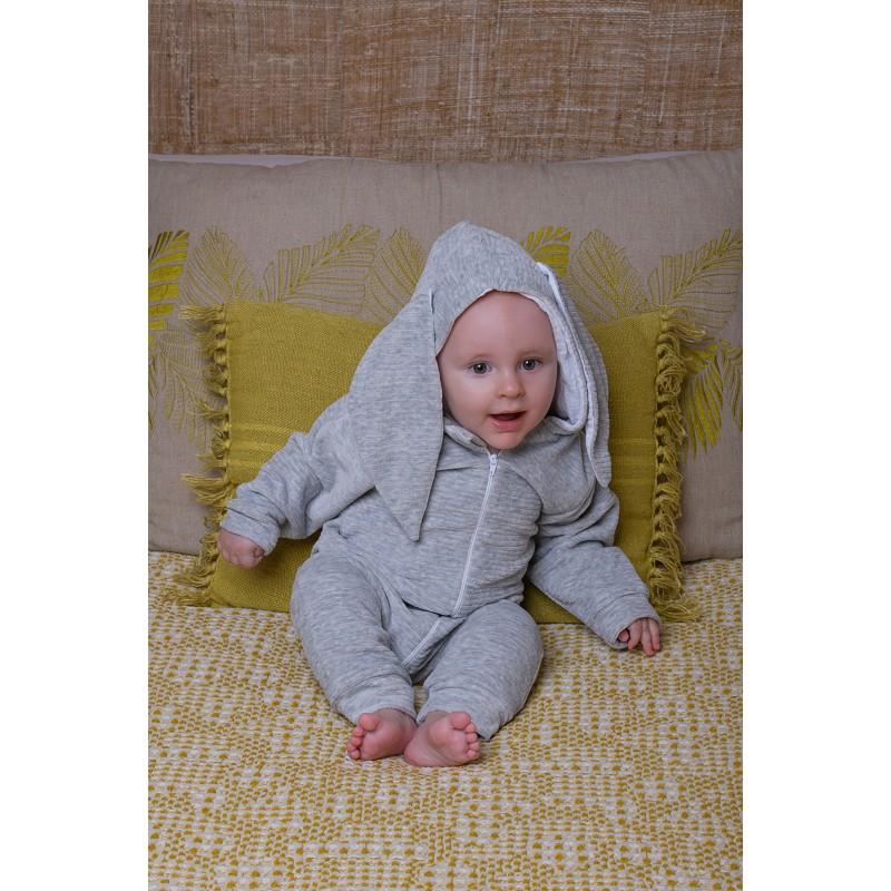 Combi Lapidoux en velours lapin gris chiné / blanc - Combis par BB&Co