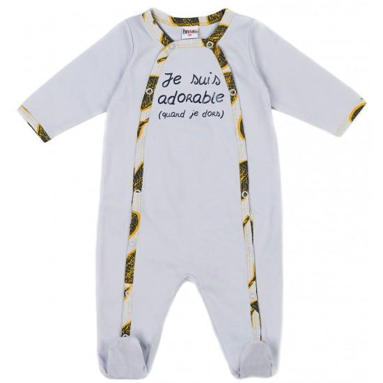"""Dors-bien mixte coton """"Je suis adorable"""" Urban Wax gris/imp.africain - Pyjamas par BB&Co"""