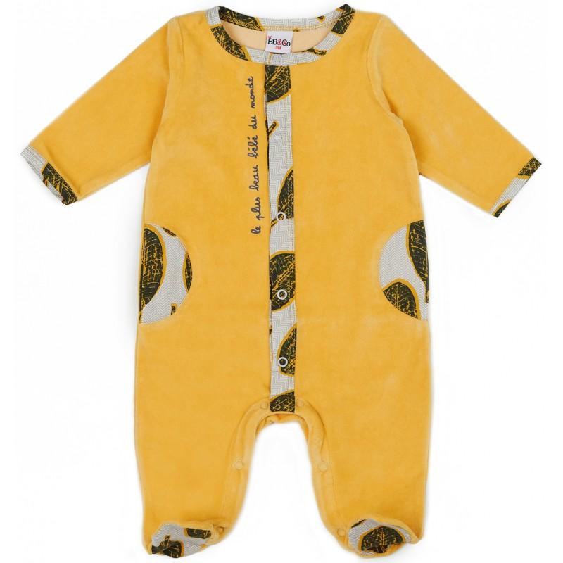 """Dors-bien mixte velours """"le plus beau bébé"""" Urban Wax ocre - Pyjamas par BB&Co"""