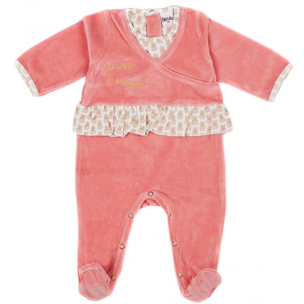 """Dors-bien velours """"Je suis à croquer"""" Anan'Adorable flamingo/ananas - Pyjamas par BB&Co"""