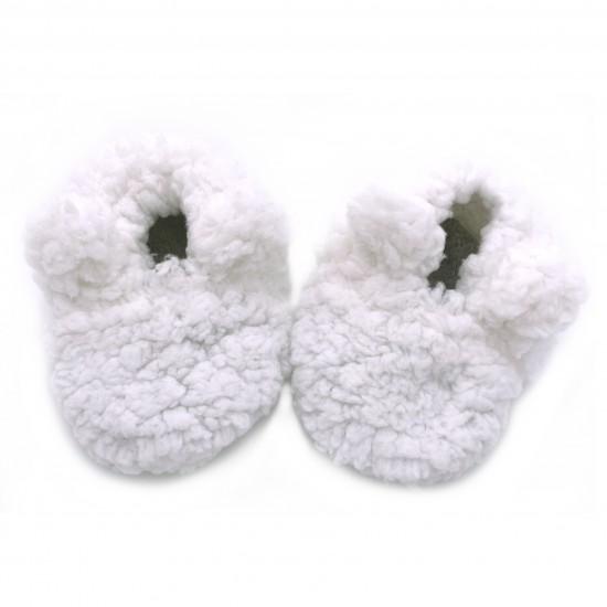 Chaussons ours en sherpa blanc - Chaussons & Chaussettes par BB&Co