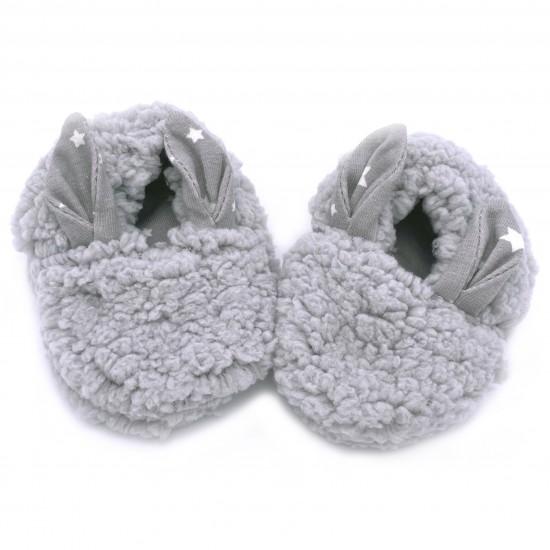 Chaussons lapin en sherpa gris - Chaussons & Chaussettes par BB&Co