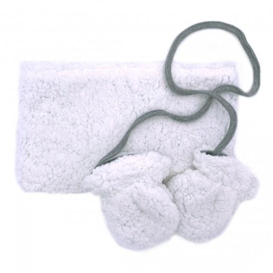 Set snood & moufles en sherpa blanc - Accueil par BB&Co