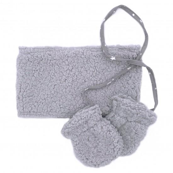 Set snood & moufles en sherpa gris - Accueil par BB&Co