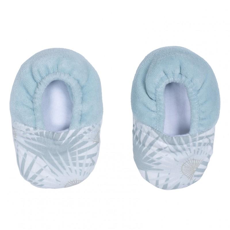 Chaussons bi-matière céladon / palmiers - Chaussons & Chaussettes par BB&Co