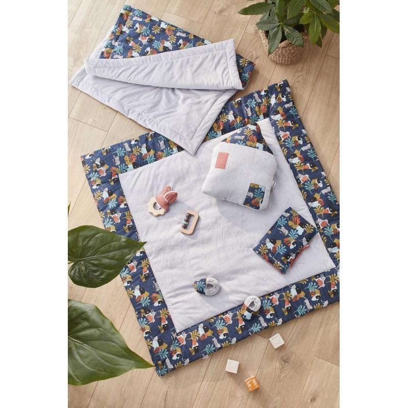 Chaussons bi-matière gris clair / imp. savane - Chaussons & Chaussettes par BB&Co