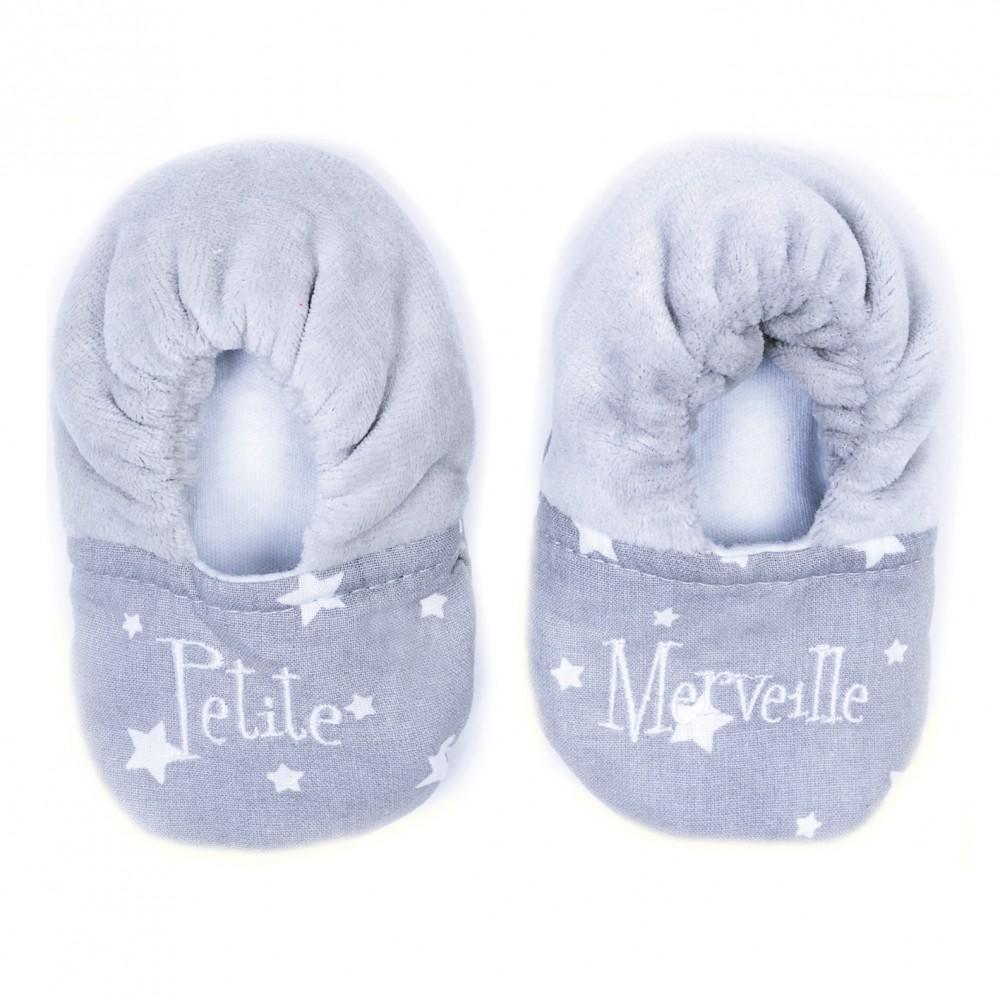 """Chaussons bi-matière """"Petite Merveille""""gris/blanc - Chaussons & Chaussettes par BB&Co"""