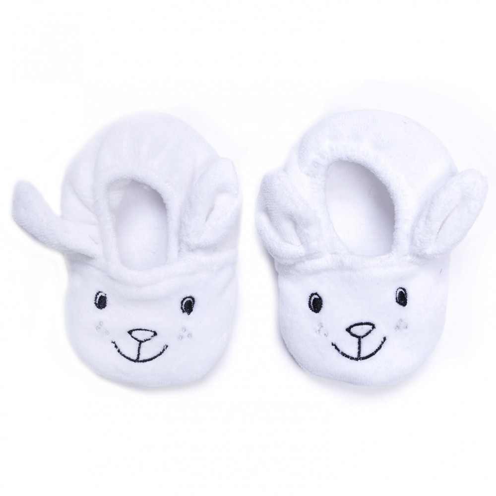 Chaussons velours brodé Lapin avec petites oreilles blanc - Chaussons & Chaussettes par BB&Co