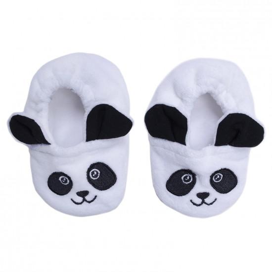 Chaussons velours brodé Panda blanc/noir - Chaussons & Chaussettes par BB&Co