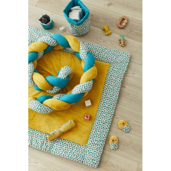 Chaussons bi-matière ocre / multicolore - Chaussons & Chaussettes par BB&Co