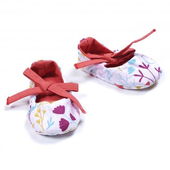 Chaussons ballerines imp. exotic / grenadine - Chaussons & Chaussettes par BB&Co