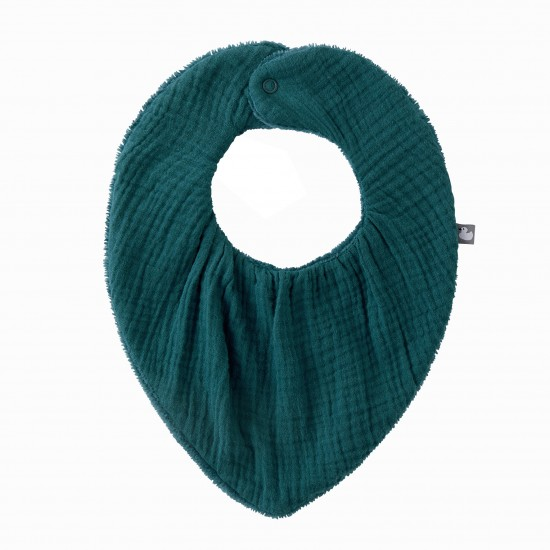 Bavoir-bandana réversible vert paon - Accueil par BB&Co
