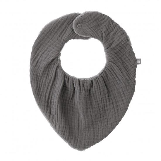 Bavoir-bandana réversible gris - Accueil par BB&Co