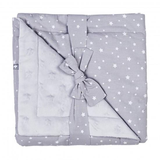 Couverture Luxe en Minky étoiles gris/blanc - Couvertures & Plaids par BB&Co