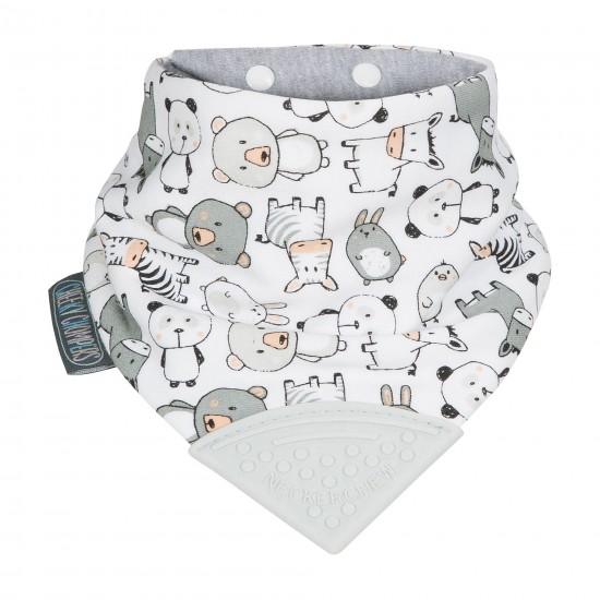 Bavoir-bandana avec embout de dentition panda blanc/gris - Hochets & Anneaux de dentition par Cheeky Chompers