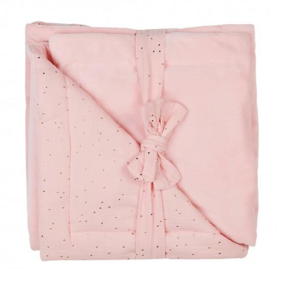 Couverture Luxe en Minky rose blush pois or - Couvertures & Plaids par BB&Co