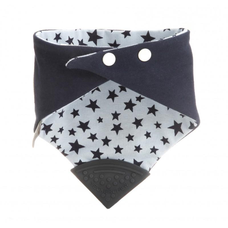 Bavoir-bandana avec embout de dentition étoiles bleu - Hochets & Anneaux de dentition par Cheeky Chompers