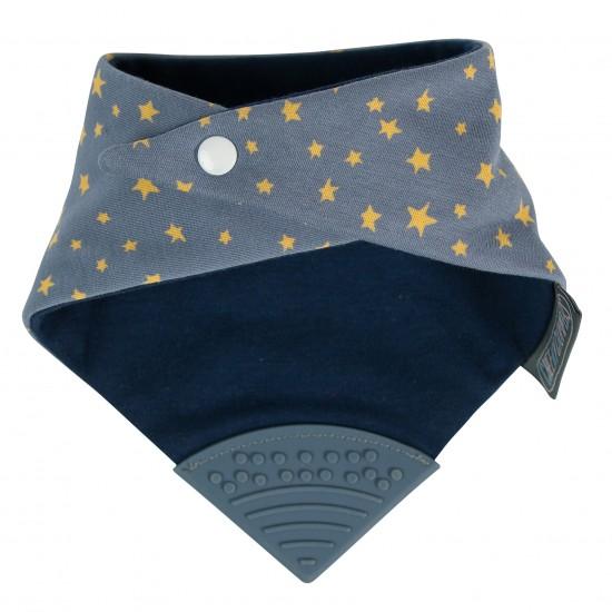 Bavoir-bandana avec embout de dentition imprimé étoiles bleu grisé - Hochets & Anneaux de dentition par Cheeky Chompers