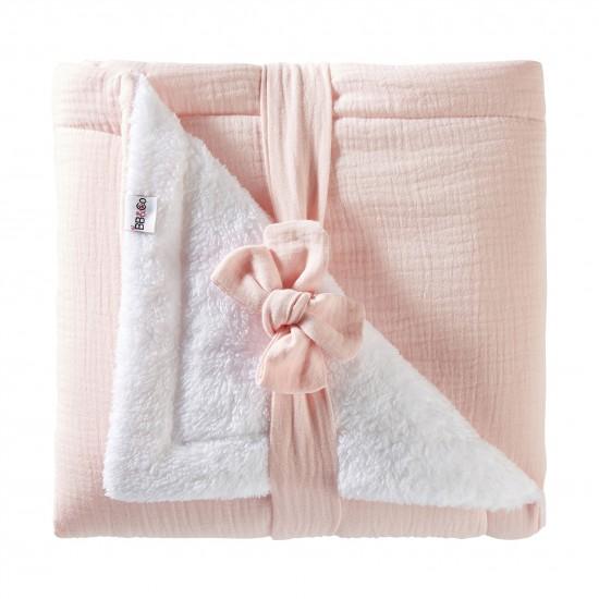 Couverture peluche double gaze & microfibre Mix & Match rose blush - Couvertures & Plaids par BB&Co