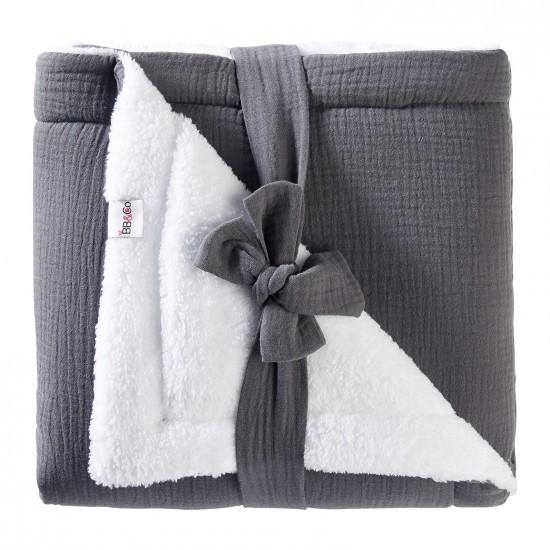 Couverture peluche double gaze & microfibre Mix & Match gris foncé - Couvertures & Plaids par BB&Co