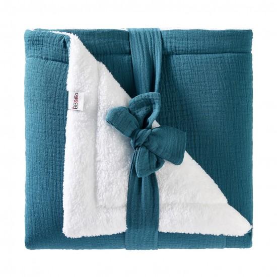 Couverture peluche double gaze & microfibre Mix & Match vert paon - Couvertures & Plaids par BB&Co